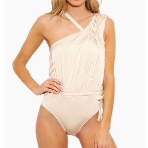 DEREK LAM STUNNING Asymmetric Ruched Tie Swimsuit